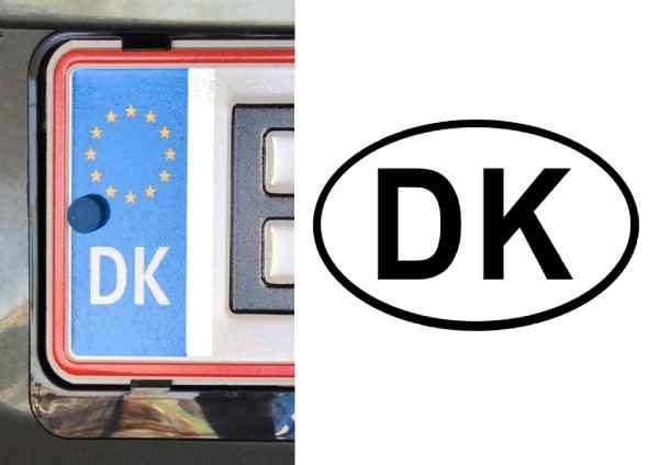 Kendingsbogstaver for bil - DK på eu-plade og klistermærke